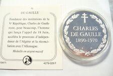 SPLENDIDE MÉDAILLE DE GAULLE COMMÉMORATIVE - ARGENT MASSIF 32.40 G // A VOIR  !!