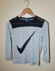 Youth Large Nike Long Sleeve Mesh Crew Neck Top Gray Black T-shirt CLEAN