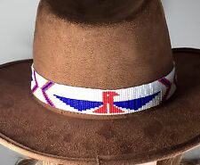 RED BLUE WHITE PATRIOTIC HATBAND/ HEADBAND NATIVE STYLE INSPIRED BEAD WORK H54/1