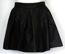 NWT Lip Service Trippin Matte Black Faux Leather Pleated Skater Skirt w/Zipper S