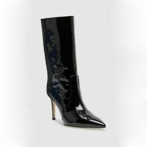 Sexy Women's Pointed Toe Pull On Mid-Calf Boots Slim High Heels Patent Leather