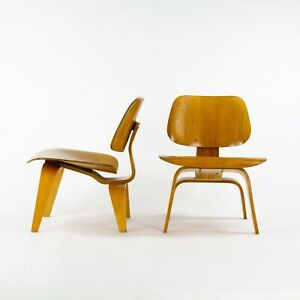1950 Pair of Eames Evans Herman Miller LCW Lounge Chair Wood in Calico Ash Wood