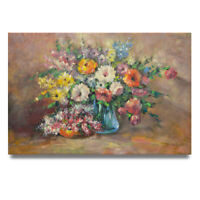 NY Art - Soft Impressionist Floral Still Life 24x36 Oil Painting on Canvas!