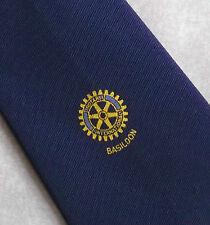 Rotary International Basildon Club Asociación Corbata Vintage Década de 1970 década de 1980 Azul Marino
