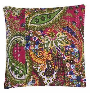 Jaipur Multi Color Bohemian Decorative Handmade Kantha over floral Cushion Cove
