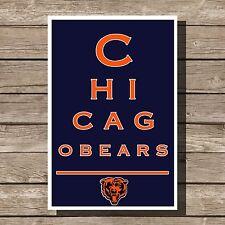 """Chicago Bears Art Football NFL Eyechart Poster Man Cave Decor 12x16"""""""
