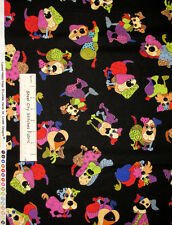 Loralie Harris Dog Happy Doggy Black Cotton Fabric Puppy Dogs Animal Yard