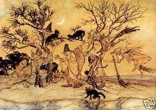 Arthur RACKHAM impresión Escoba Halloween Bruja Brujería Magia Ocultismo Gato