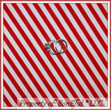 BonEful Fabric Cotton Quilt Red White Xmas America*n Candy Cane Stripe Boy SCRAP