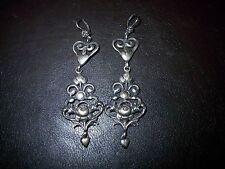 Große Trachtenohrringe Ohrhänger Herzen und Rosen, Antik-Silber 800 um 1920-60