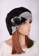 M395 Black New Floral Wool Faux Rabbit Fur Women's Winter Hat Beanie Cap SKI