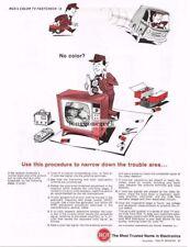 1966 RCA Color TV FastCheck #6 No Color? TV Repairman cartoon Vtg Print Ad