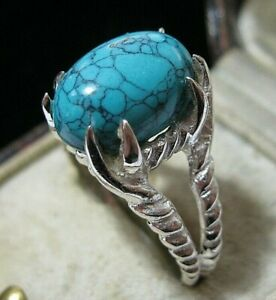 Beautiful Jewellery STERLING SILVER Turquoise Stone Dragon Claw RING Size R 8.5