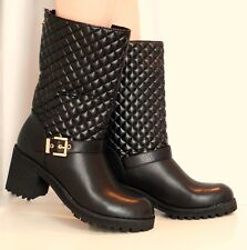 NEW LADIES BLACK BROWN MID CALF QUILTED BIKER LOW HEEL SHOES BOOTS SIZE