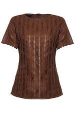 SZ 42 ESCADA Garnet Red Unique Leather Cotton Top Blouse NWT $1775