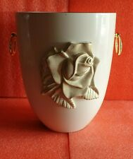 White Steel with Big Rose Emblem Funeral Cremation Ashes Urn for Adult (703A)