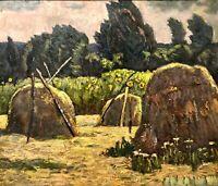 painting art IMPRESSIONISM storm old rare vintage soviet Mozok lyrical landscape