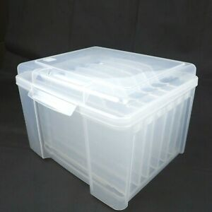 IRIS USA Clear Card Keeper Sturdy Plastic Craft Storage Container 6 Dividers