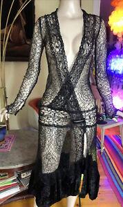 Vintage 20s black lace Net dress Art Deco Spiderweb Goth Witch Velvet Bottom