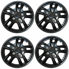 Set Of 4 Black Gloss Alloy Look R 13 Inch Car Wheel Trims Hub Caps Covers 1400C