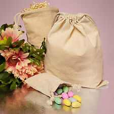 "6ct. Plain Cotton Muslin Pouch Bags with Double Knotted Draw String 9""x12"""