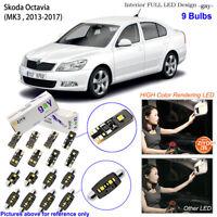 9 Bulbs Deluxe LED Interior Dome Light Kit White For MK3 2013-2017 Skoda Octavia