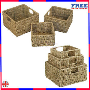 Set of 3 Natural Seagrass Square Storage Baskets with Inset Handles