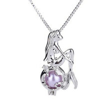 Women Mermaid silver Pearl Aromatherapy Diffuser Cage Locket necklace pendant