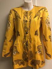 Vintage ESCADA Cotton Jacket Yellow Animals Sz 36 US 6