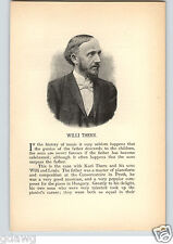 1894 Pianist Willi Thern Portrait Print & 2 PG Bio Piano