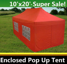 10'x20' Enclosed Pop Up Canopy Party Folding Tent Gazebo - Red - E Model