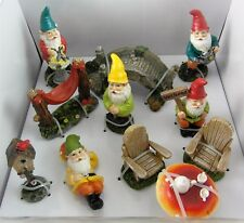 Mini Gnome Garden Set 11 piece Fairy Garden 5 Gnomes plus! Miniature Resin NEW