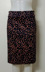 PREVIEW Womens 12 Snap Front Pencil Skirt Solid Waistband Navy/Pink New Stretch