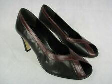 "Ladies Black and Burgundy UK Size 7 Shoe Peep Toe 3.5"" Heel Trim Leather Upper"