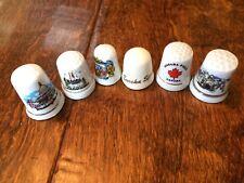 6 Vintage Collectible Porcelain Thimbles Eureka, Niagara,  Rothenberg Germany