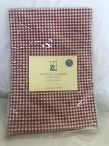 "Pottery Barn Kids Gingham Valance Pole Red White 18"" X 50""  NWT NLA"