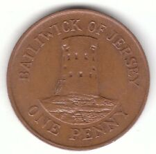 JERSEY 1986 Penny Bronzo Coin-le hocq Watch Tower