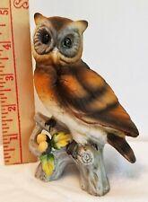 "Vintage OWL Figurine 4 3/4"" tall setting on branch"