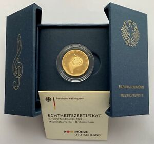 Deutschland - 50 Euro 2020 - Orchesterhorn - Prägebuchstabe F - 1/4 Oz Gold ST