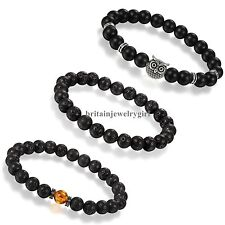 3pcs Mens Womens Black Matte Agate Lava Stone 8MM Beads Stretch Bracelet Set