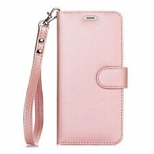 iPhone 7/8 Wallet Case RFID Protection PU Vegan Leather Kickstand Wristlet Pink
