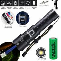 Super Bright XHP90 XHP100 XHP160 LED Flashlight USB Rechargeable Hunt Torch Lamp