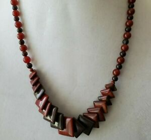 Fall amber colored beaded necklace Graduated square and round beads Runway