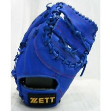 "ZETT 12"" Baseball Softball Gloves First Base Leather Right Hand Throw RHT Blue"