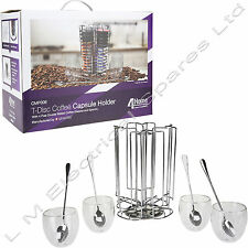 T-Disc Coffee Pod 52 Capsule Holder Stainless Steel For Bosch Tassimo + Glasses