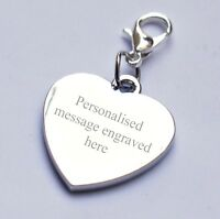 Engravable Personalised Heart Charm 2 Sides Engraving any Message/Wording/Date