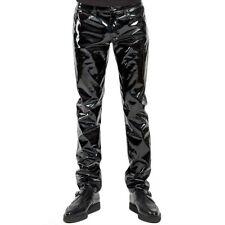 Hommes Simili Cuir PVC Pantalon Long Brillant Club Vêtement de Danse