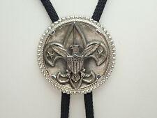 Vintage Boy Scout Logo Eagle Round Silver Tone Black Cord Bolo Tie Slide