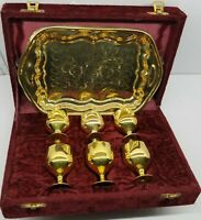 Vintage Solid Brass Cordial Set or Communion Kit Tray & 6 Goblets, Case Display