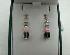 Deco style 14k Rose Gold filled earrings, pink Opal & Silver Night crystal cubes